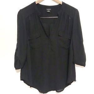 Torrid semi sheer black popover blouse 00
